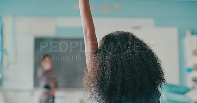 Buy stock photo Shot of a young girl child raising her hand in a classroom