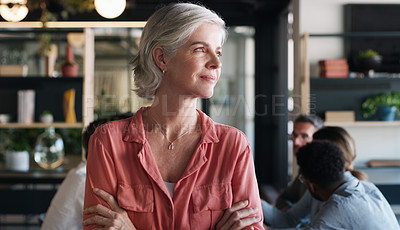 Buy stock photo Shot of a confident mature businesswoman in in the office boardroom with her colleagues in the background