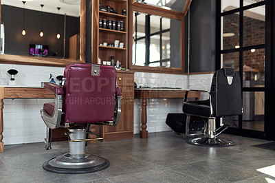 Buy stock photo Still life shot of an empty modern salon and barbershop