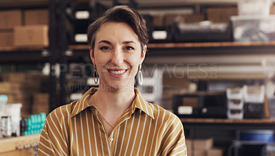 Buy stock photo Portrait of a confident businesswoman working in a creative office
