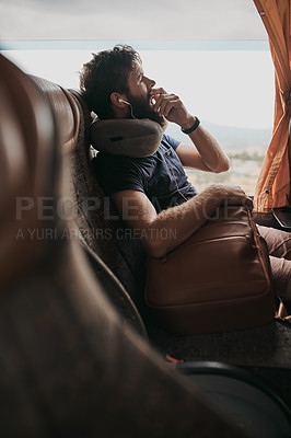 Buy stock photo Cropped shot of a young man yawning while sitting on the bus