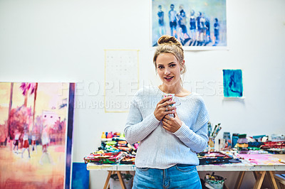Buy stock photo Portrait of an attractive young woman posing inside her art studio