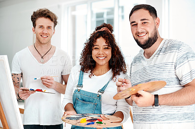 Buy stock photo Cropped portrait of a diverse group of artists standing together during an art class in the studio