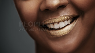Buy stock photo Cropped shot of a woman's lips
