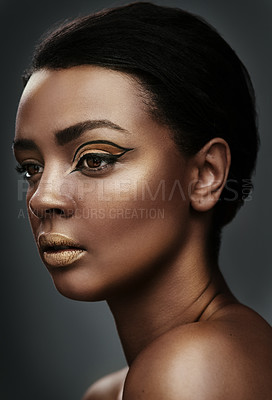Buy stock photo Cropped shot of a beautiful young woman wearing makeup