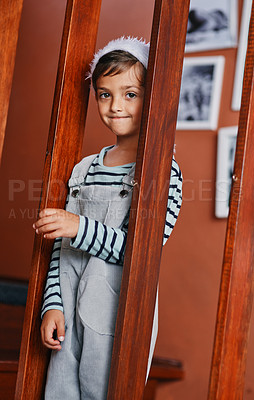 Buy stock photo Portrait of an adorable little boy at home during Christmas