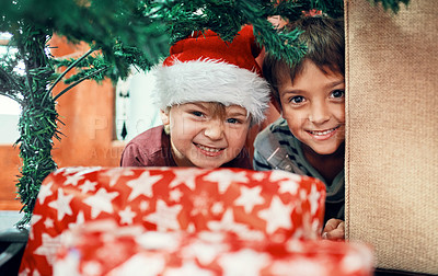 Buy stock photo Portrait of two adorable brothers playing under the Christmas tree at home
