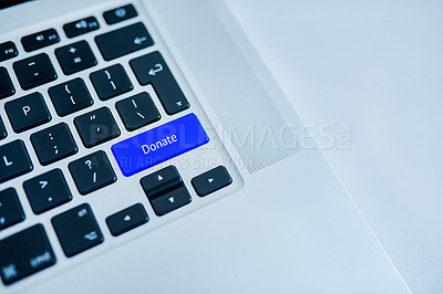 Buy stock photo Closeup of a highlighted key on the keyboard of a laptop showing the word