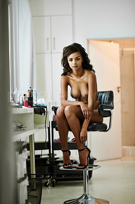 Buy stock photo Shot of an attractive nude young woman