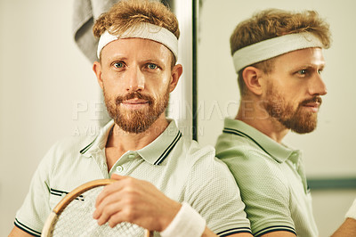 Buy stock photo Shot of a young man in the locker room after a game of squash