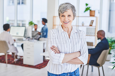 Buy stock photo Portrait of a mature businesswoman standing in an office with her colleagues in the background