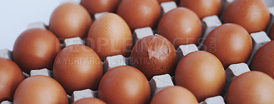 Buy stock photo Shot of a cracked egg in a carton full of eggs