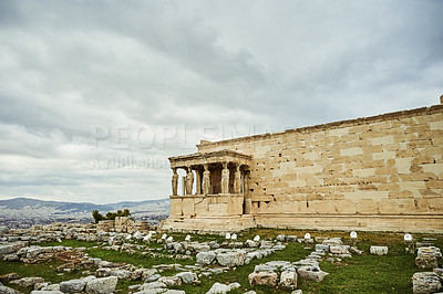 Buy stock photo Cropped shot of the famous Erechtheion during the day while sight-seeing Athens, Greece