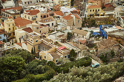 Buy stock photo Cropped shot of residential houses within the city of Athens during a vacation in Greece