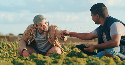 Buy stock photo Cropped shot of two handsome young male farmers giving each other a fist bump while working in a crop field