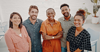 Buy stock photo Cropped shot of a group of young designers standing together