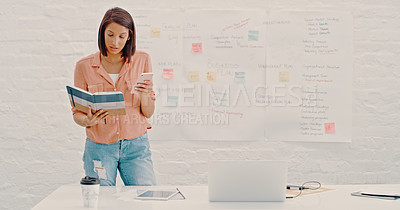 Buy stock photo Cropped shot of a young businesswoman working in her office