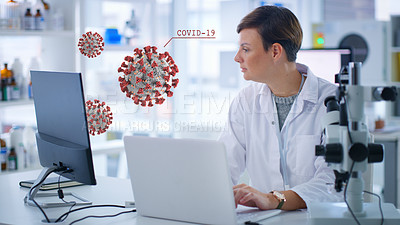 Buy stock photo Shot of a scientist using laptop and computer while doing research about Covid-19 in a lab