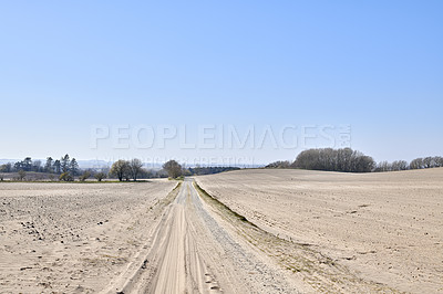 Buy stock photo Very sandy farmland close to the beach, East Coast of Jutland, Denmark
