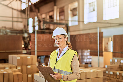 Buy stock photo Cropped portrait of an attractive mature supervisor wearing a safety helmet and vest during a stocktake in a warehouse