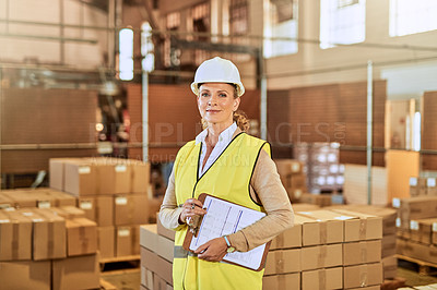 Buy stock photo Cropped portrait of an attractive mature supervisor wearing a safety helmet and vest during a stock take in a warehouse