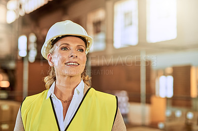 Buy stock photo Cropped shot of an attractive mature supervisor wearing safety gear and standing alone in a warehouse