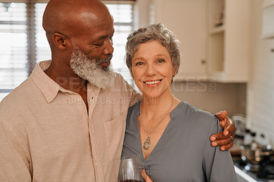 Buy stock photo Portrait of an affectionate and happy senior couple spending time together at home