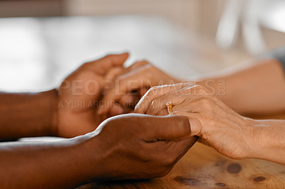 Buy stock photo Closeup shot of two unrecognizable people holding hands in comfort
