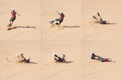 Buy stock photo Composite shot of a young man sandboarding in the desert