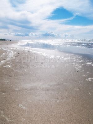 Buy stock photo A photo of a beach late afternoon a sunny day