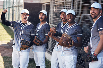 Buy stock photo Shot of a group of young baseball players celebrating after watching a game