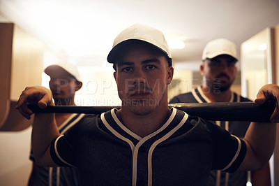 Buy stock photo Shot of a group of young men walking into a locker room at a baseball game