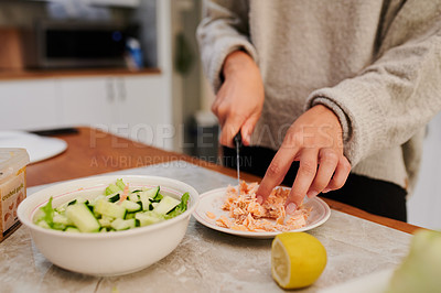 Buy stock photo Cropped shot of a woman preparing a healthy meal at home