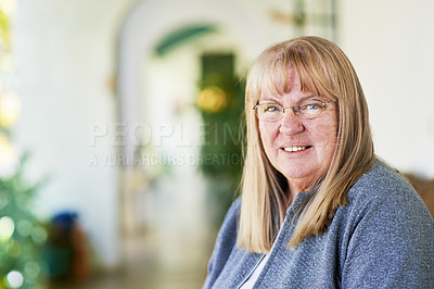 Buy stock photo Portrait of a mature woman at home