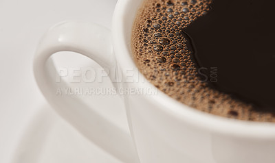 Buy stock photo Closeup shot of a cup of black coffee