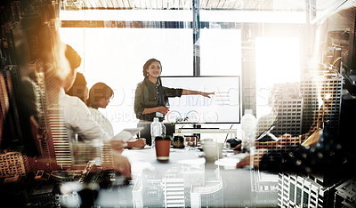 Buy stock photo Shot of a young businesswoman delivering a presentation to her colleagues superimposed on a city background
