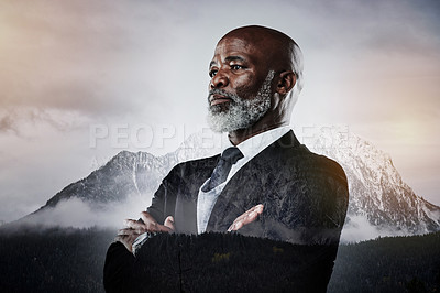 Buy stock photo Shot of a confident mature businessman superimposed on a mountainous background