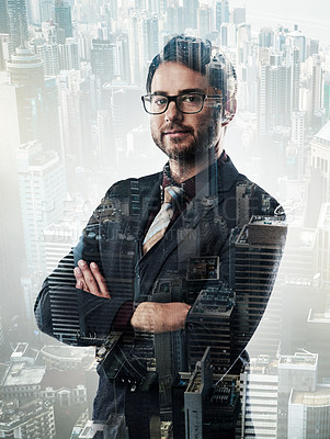 Buy stock photo Portrait of a confident young businessman superimposed on a city background