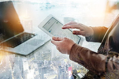 Buy stock photo Cropped shot of a businesswoman using a digital tablet to analyse data superimposed on a city background