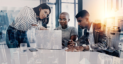 Buy stock photo Superimposed shot of a group of businesspeople working together on a laptop in an office