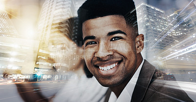 Buy stock photo Superimposed shot of a young businessman sitting in an office