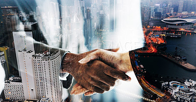 Buy stock photo Superimposed shot of two unrecognisable businesspeople shaking hands in an office