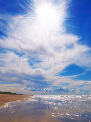 Buy stock photo Calm and peaceful - beach and ocean