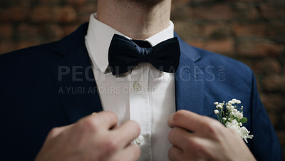 Buy stock photo Cropped shot of an unrecognisable man dressed up for his wedding day