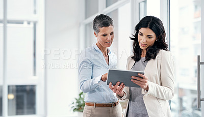 Buy stock photo Shot of two businesswomen using a digital tablet in a modern office