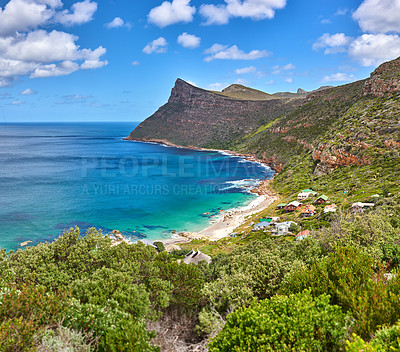 Buy stock photo Beach and coast in calm weather - South Africa, Cape Town