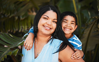 Buy stock photo Portrait of a mother and her little son bonding together outdoors