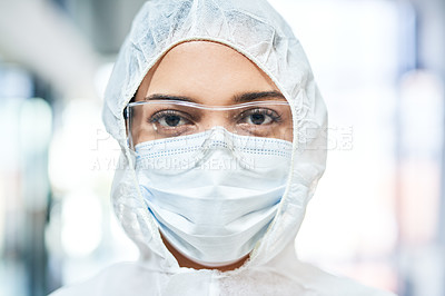 Buy stock photo Portrait of a young woman wearing a hazmat suit, protective goggles and a mask
