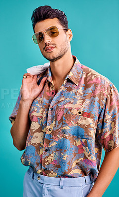 Buy stock photo Cropped shot of a handsome young man styled in 80s fashion