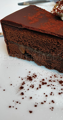 Buy stock photo Shot of a slice of delicious chocolate torte called sachertorte at a restaurant in Vienna